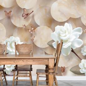 Fototapet 3D, Flori albe și fluturi pe un fundal 3D