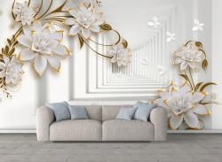 Fototapet 3D, Lotos cu petale de aur