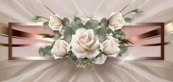 Fototapet 3D, Trandafiri albi pe un fundal auriu
