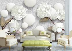 Fototapet 3D, Trandafiri albi și perle albe pe un fundal cu ornamente