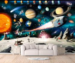 Fototapet, 5 astronauți în spațiul cosmic