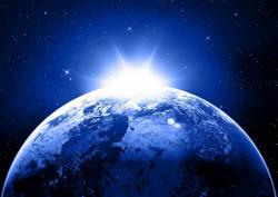 Fototapet Astronomie, Planetă pe fundal albastru
