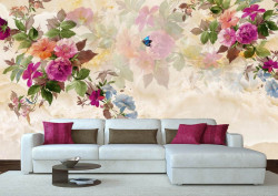 Fototapet, Crenguțe cu flori multicolore