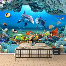 Fototapet, Delfinii printre pești și corali