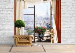 Fototapet, Fereastră cu perdele roșii, cu Priveliște la Paris