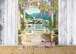 Fototapet Fresco, Fototapete cu vedere la balconul arcuit până la lac
