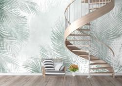 Fototapet, Frunze delicate de palmier verde