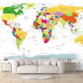 Fototapet, Harta politică a lumii pe fundal alb