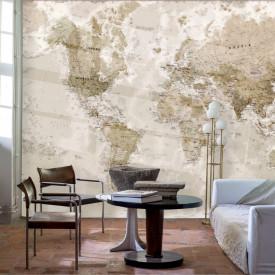Fototapet Harta si Steaguri, Harta lumii in culoare brune