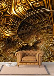 Fototapet, Modelul abstract de aur sub formă de spirală din clădiri