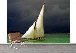 Fototapet, O barcă cu pânze albe pe apă
