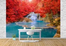 Fototapet, O cascadă pe fundalul unor plante cu frunzele roșii