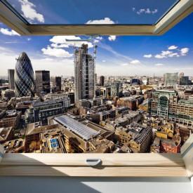 Fototapet, O fereastră cu Priveliște la orașul și cerul senin