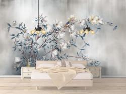 Fototapet, O ramură cu flori albe