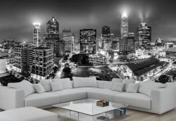 Fototapet, Orașul de noapte alb-negru