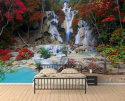 Fototapet, Parcul cu o cascadă frumoasă