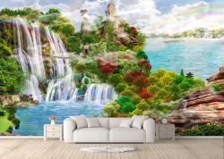 Fototapet, Peisajul montan frumos cu un lac și o cascadă
