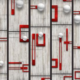 Fototapet, Sfere albe și linii roșii