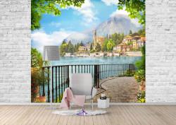Fototapet, Un balcon cu Priveliște la oraș de-a lungul lacului