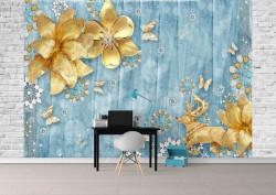 Fototapet, Un cerb și flori aurii pe un fundal albastru