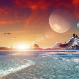 Fototapete Apus de soare pe altă planetă