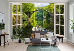 Fototapete, Deschide fereastra albă cu vedere la un parc verde