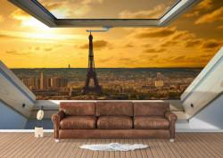 Fototapete, Fereastră cu vedere la Parisul de seară