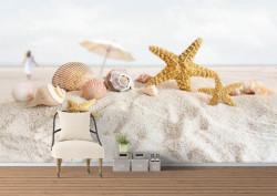 Fototapete, Scoici și stele de mare pe plajă