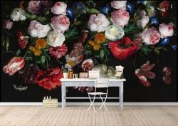 Fototapete, Un buchet de flori multicolore pe un fundal negru