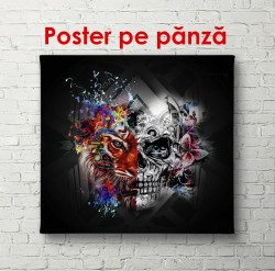 Poster, Desen abstract și cap de tigru