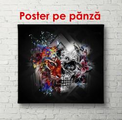 Poster, Desen abstract și cap de tigru