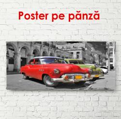 Poster, Mașină vintage multicoloră într-o curte gri