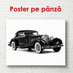 Poster, Mercedes negru pe un fond alb