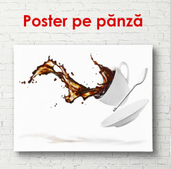 Poster, O ceașcă albă de cafea pe un fundal alb