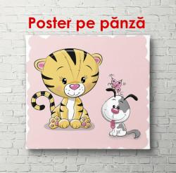 Poster, Tigru cu un câine pe un fundal roz