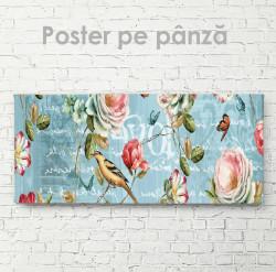 Poster, Trandafiri, pasărea și fluturi