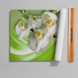 Stickere 3D pentru uși, Flori albe, 1 foaie de 80 x 200 cm