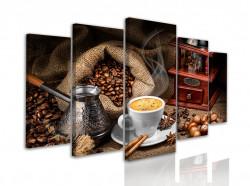Tablou modular, Cafea fierbinte într-o cană cu o râșniță de cafea și boabe de cafea pe masă