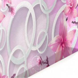 Tablou modular, Flori abstracte de culoare roz