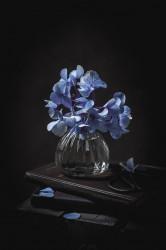 Tablou, Vaza cu flori albastre pe un fundal întunecat