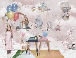 Tapet foto pentru copii, Animale drăguțe pe biciclete pe fundal roz