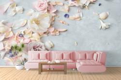 3D Fototapet, Flori roz delicate pe un fundal albastru