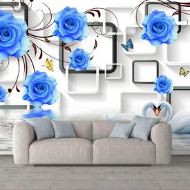 Fototapet 3D, Flori albastre pe un fundal 3D alb