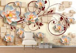 Fototapet 3D, Flori de lotus albe cu ornamente bordo pe un fundal 3D