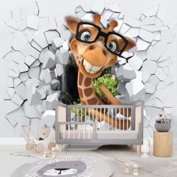 Fototapet 3D, Girafă pe fundalul unui perete 3D