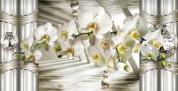 Fototapet 3D, O orhidee albă pe fundalul unor coloane