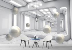 Fototapet 3D, Perle albe plutitoare într-un tunel 3D