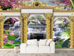 Fototapet, Arcuri aurii pe fundalul unei cascade
