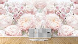 Fototapet, Compoziție delicată de bujori și trandafiri