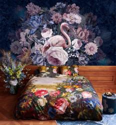 Fototapet, Flamingo și flori